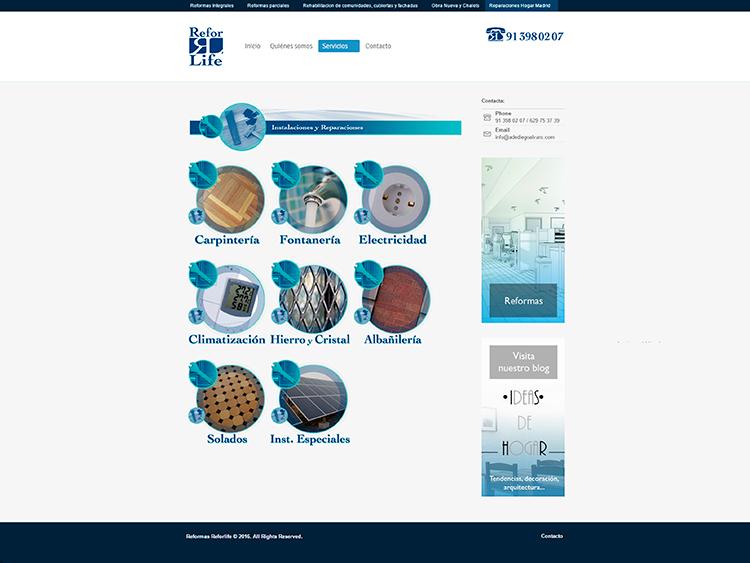 Diseño y creación de web Servicios REFORLIFE 2