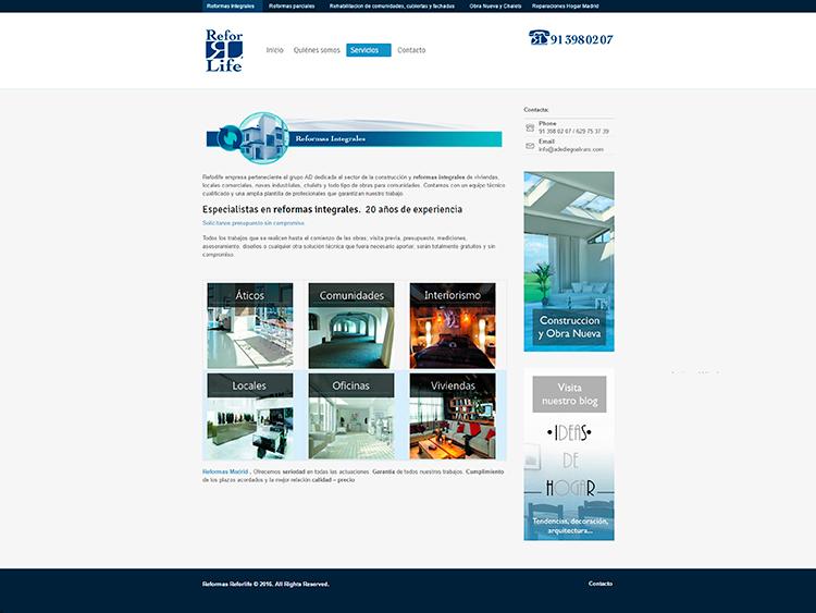 Diseño y creación de web Servicios REFORLIFE 4