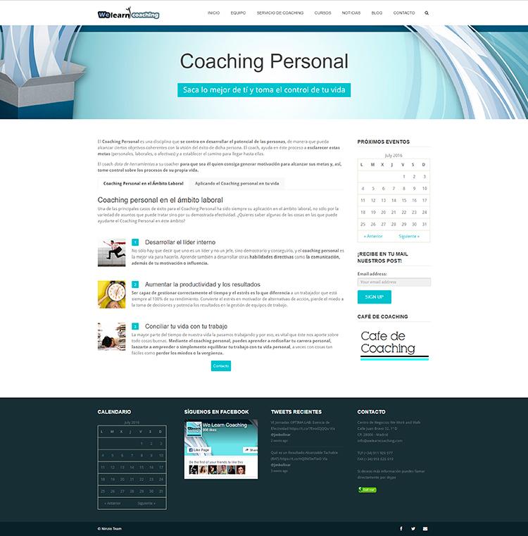 Diseño y creación de web Servicios WE LEARN COACHING