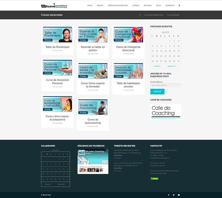 Diseño y creación de web Cursos Pers WE LEARN COACHING
