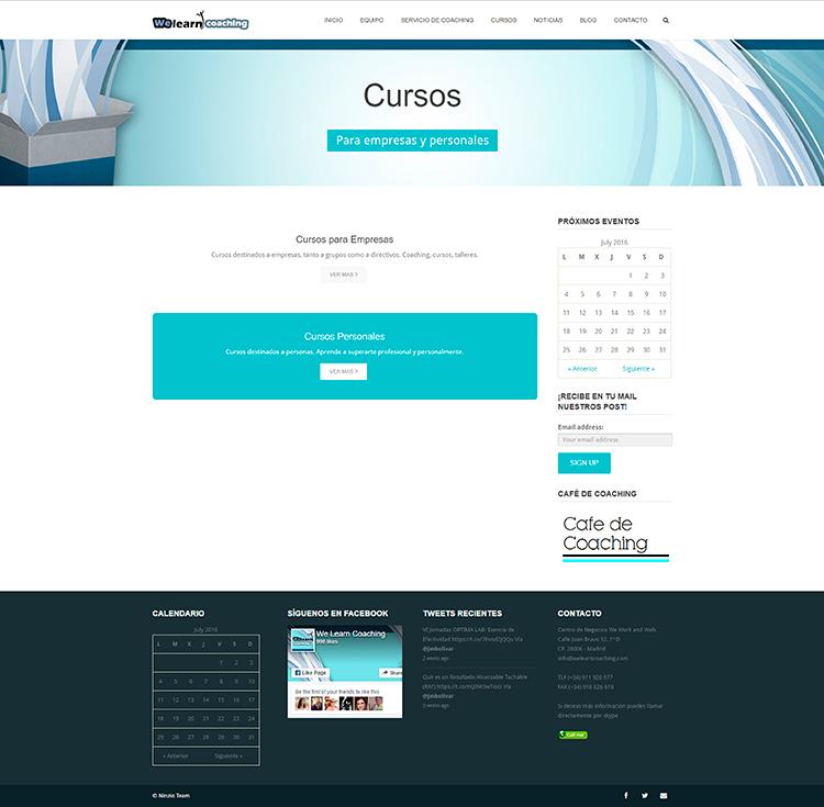 Diseño y creación de web Cursos WE LEARN COACHING