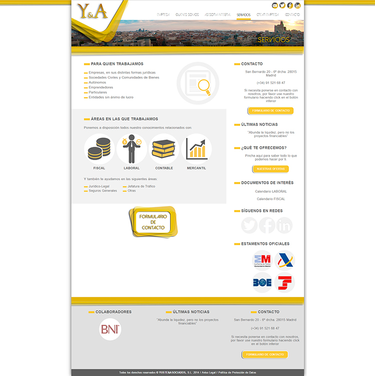 Diseño web Servicios YUSTE Y ASOCIADOS