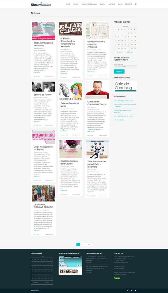 Diseño y creación de web Noticias WE LEARN COACHING