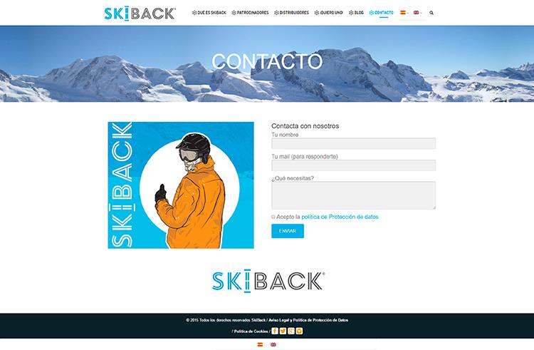 Diseño y creación de web Contacto SKIBACK