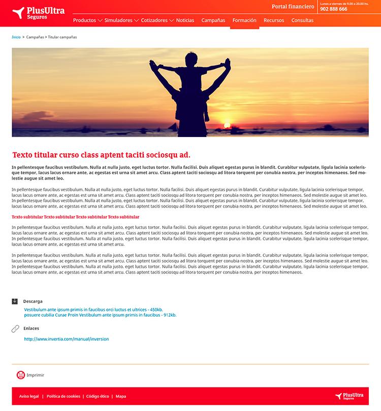 Diseño web Responsive Detalle SEGUROS PLUS ULTRA 1280