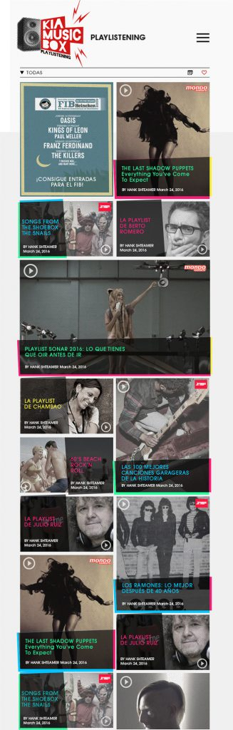 Diseño web Responsive Home KIA MUSIC BOX 768