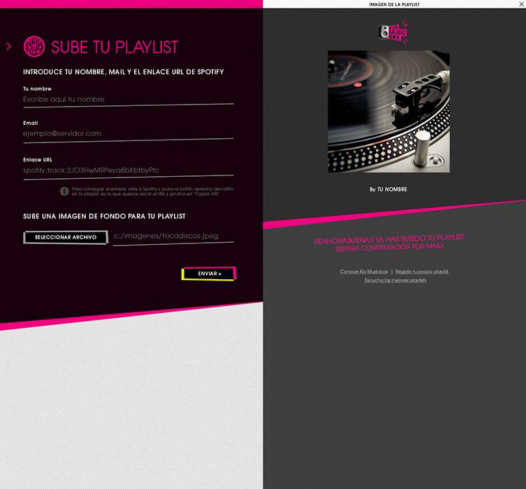 Diseño web Responsive Sube lista KIA MUSIC BOX 1280