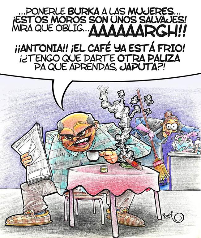 Ilustración viñeta BURKA EN EL OJO AJENO