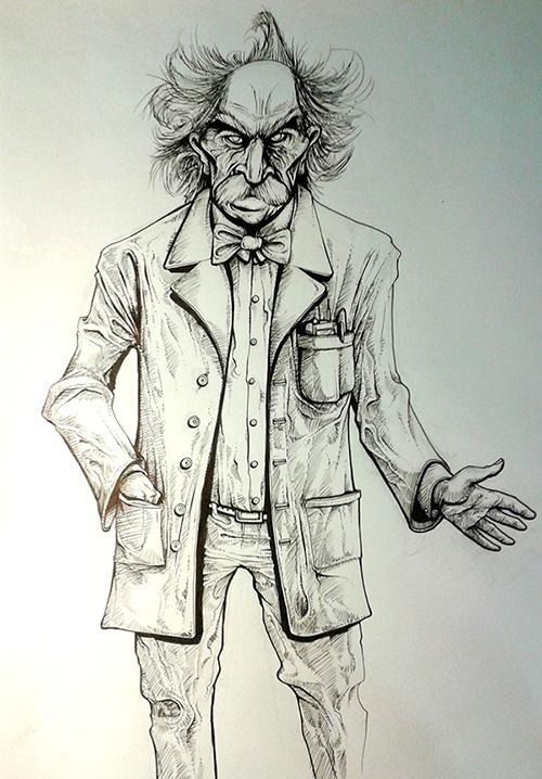 Boceto Ilustración PROFESOR SINIESTRO 3