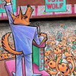 Ilustración viñeta VOTE WOLF