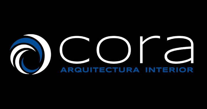 Diseño de logotipo sobre negro CORA ARQUITECTURA INTERIOR