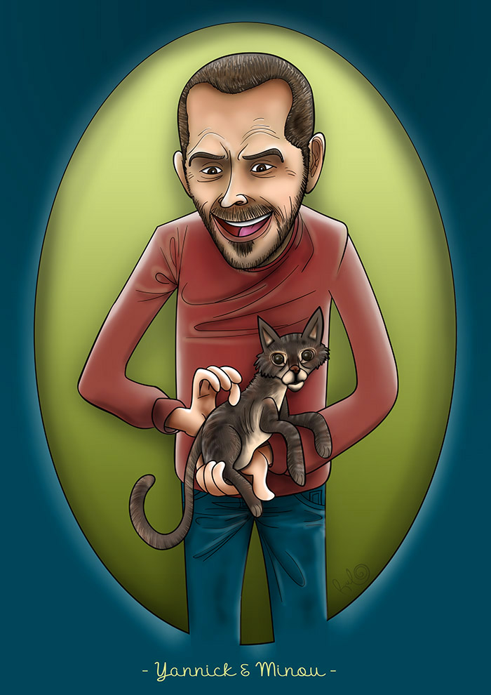 Ilustración retrato YANNICK Y MINOU