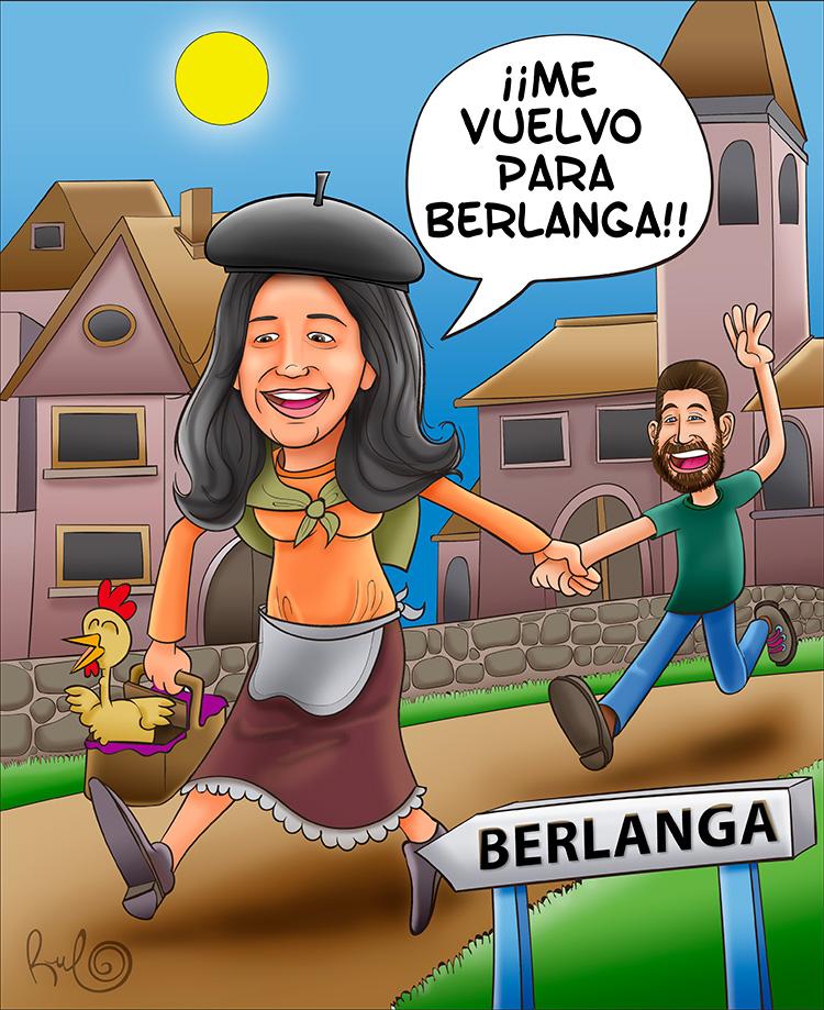 Ilustración caricatura MARIAN SE VA PARA BERLANGA