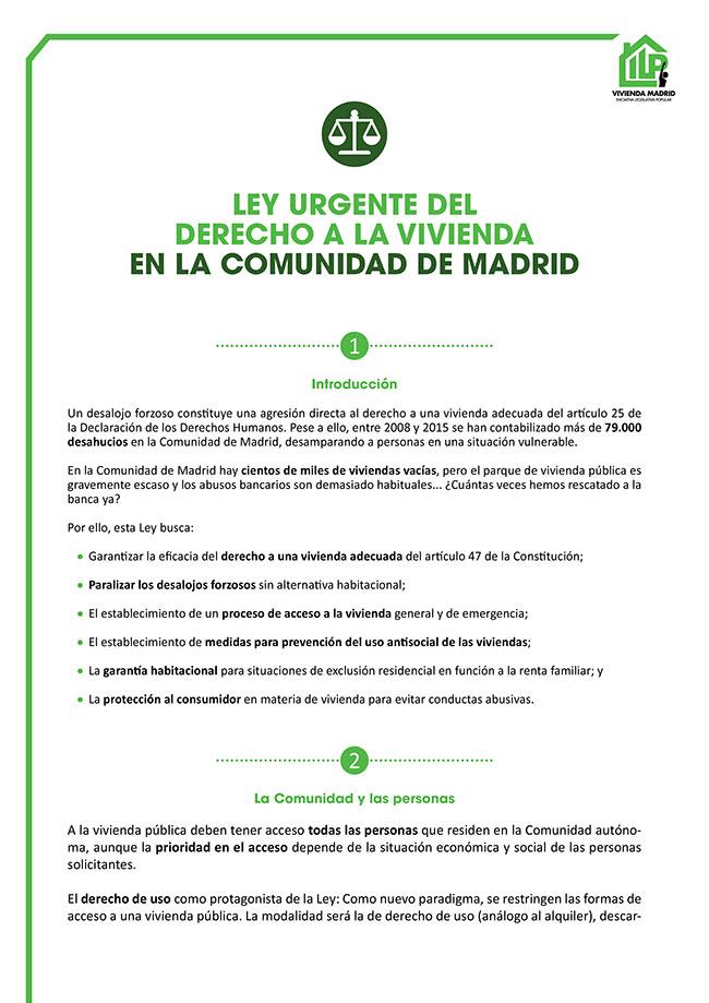 Diseño y maquetación ILP LEY URGENTE DEL DERECHO A LA VIVIENDA EN LA COMUNIDAD DE MADRID Resumen 1