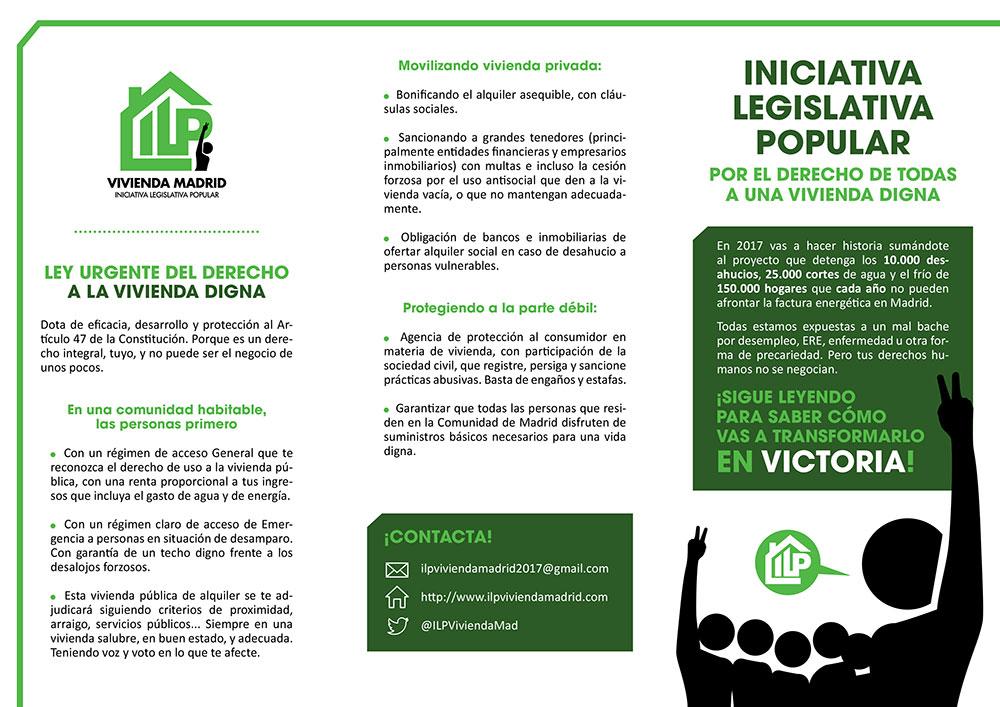 Diseño y maquetación ILP LEY URGENTE DEL DERECHO A LA VIVIENDA EN LA COMUNIDAD DE MADRID Triptico 1