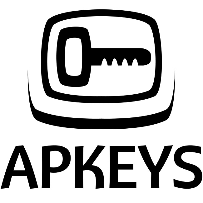 Diseño de logotipo en negro plano APKEYS