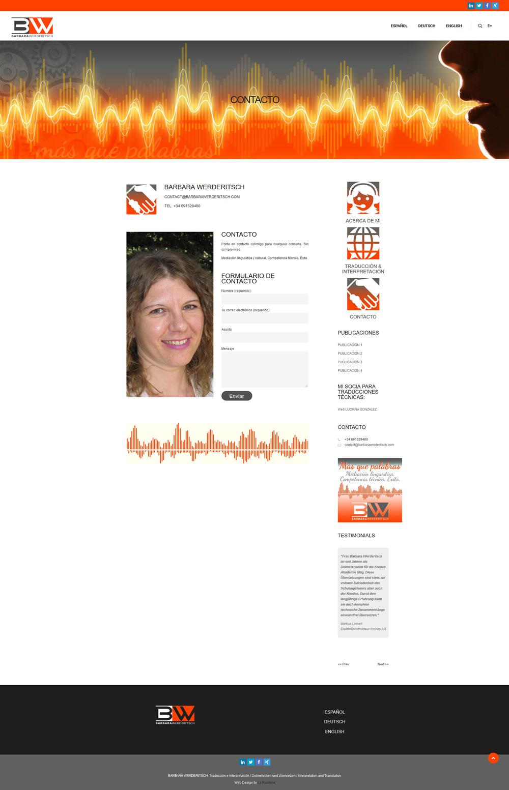 Diseño y desarrollo web BARBARA WERDERITSCH Contacto
