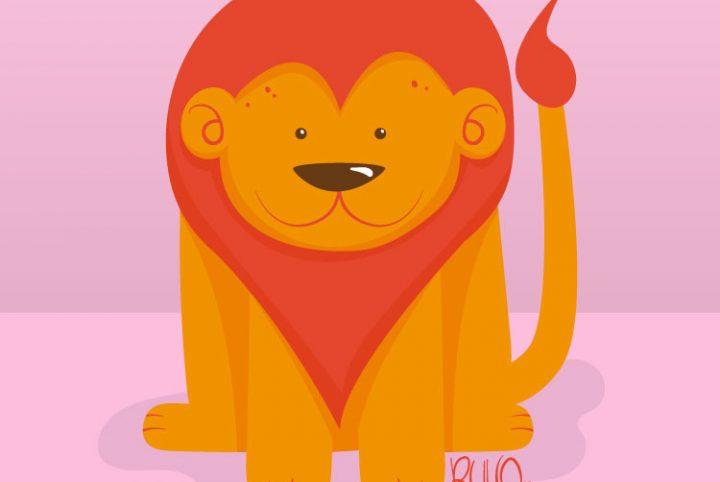 Ilustraciones Animales Flat Design LEON