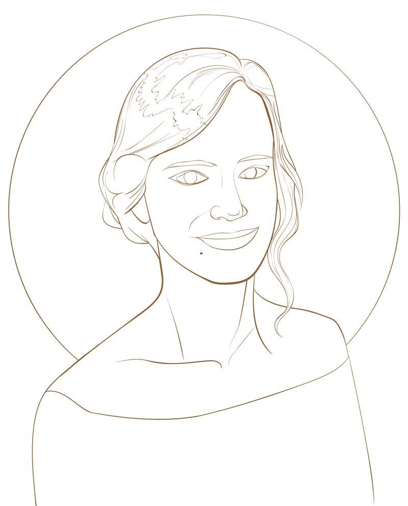 Ilustración previa de invitación para boda NATALIA