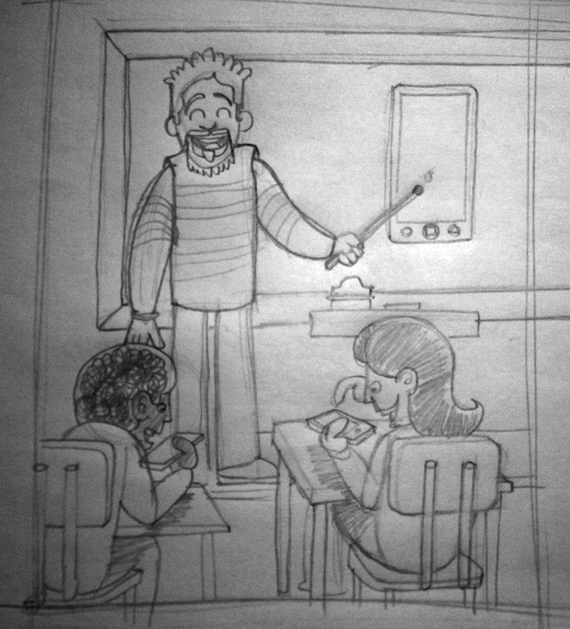 Boceto Ilustración blog Tecnologías en el aula