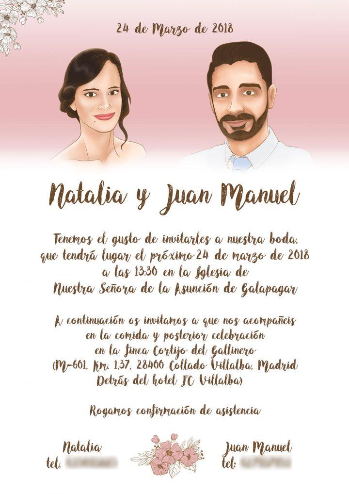 Ilustraciones y diseño de invitación para boda JUANMA Y NATALIA