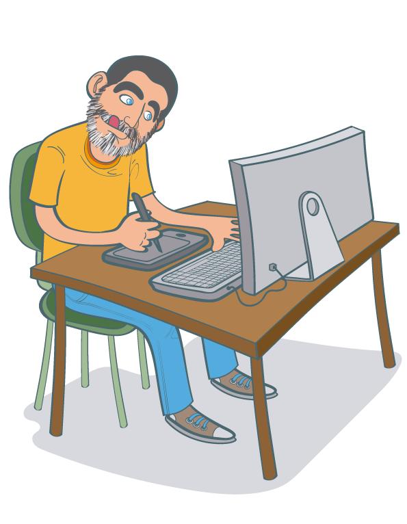 Ilustracion vectorial Autorretrato Rulo trabajando La Ruloteca