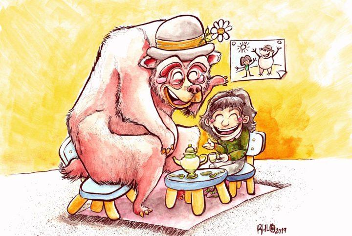Ilustración con acuarelas AMIGO OSO