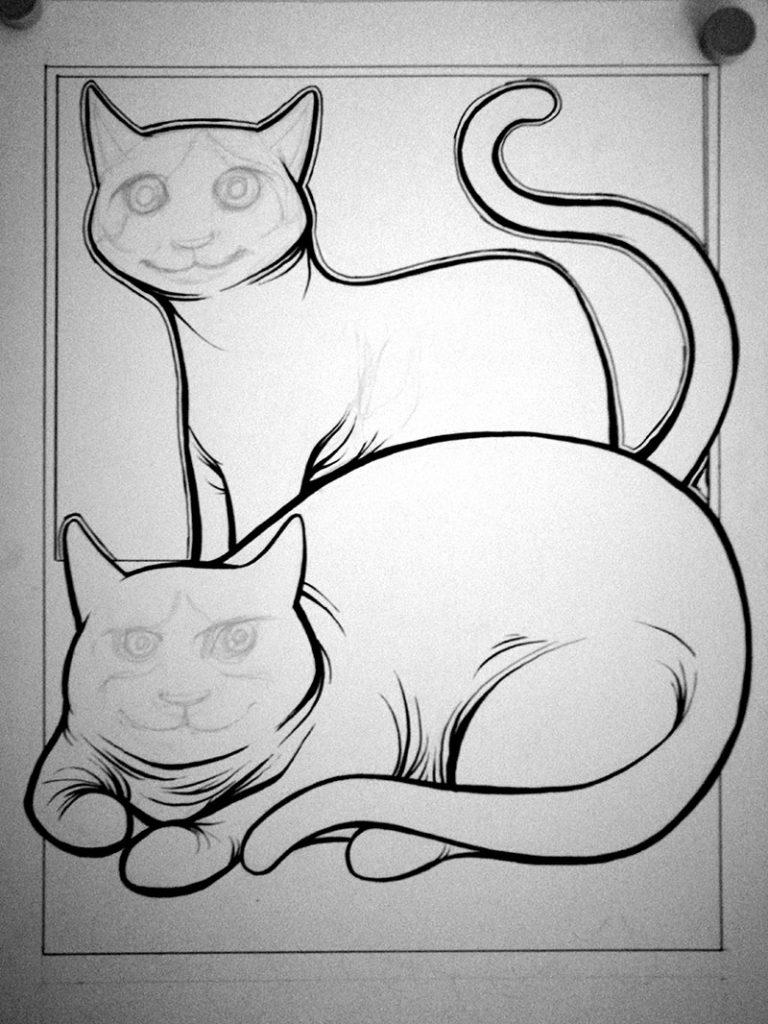 Previo 1 ilustración con acuarelas y tinta LOS GORDITOS