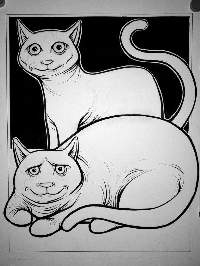 Previo 3 ilustración con acuarelas y tinta LOS GORDITOS