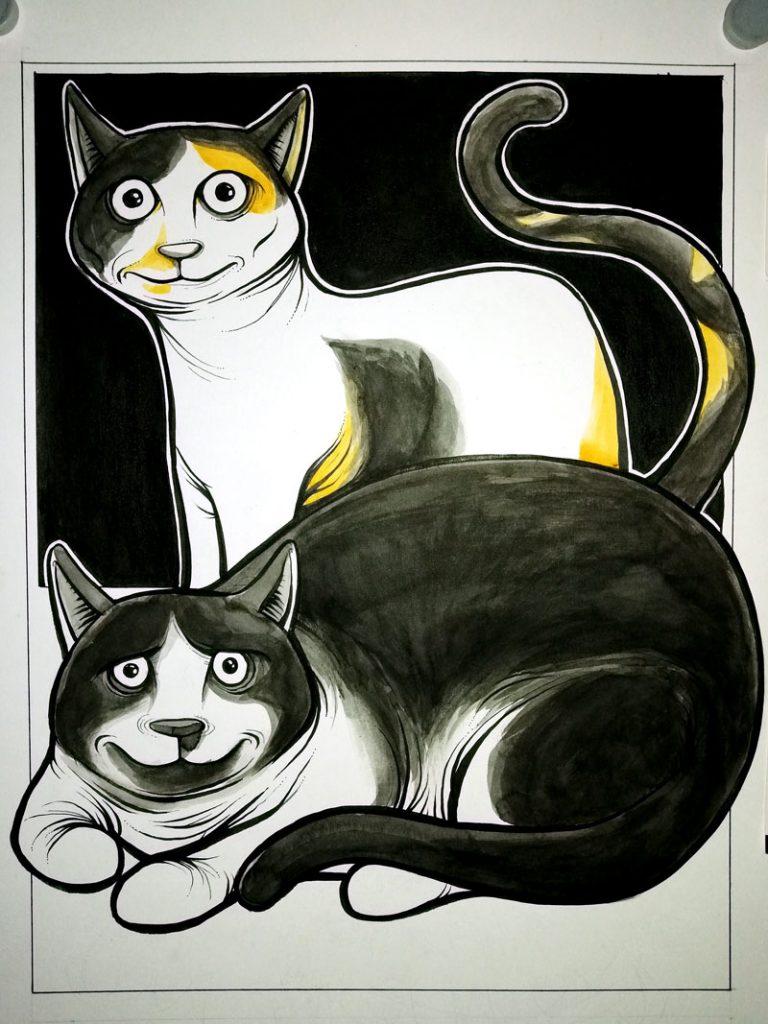 Previo 4 ilustración con acuarelas y tinta LOS GORDITOS