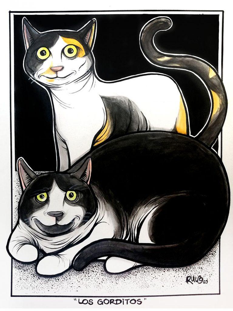 Previo 5 ilustración con acuarelas y tinta LOS GORDITOS