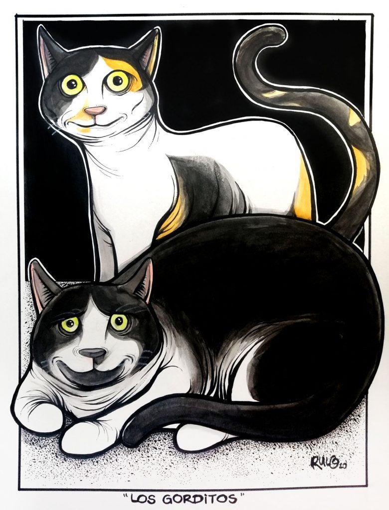 Ilustración con acuarelas y tinta LOS GORDITOS