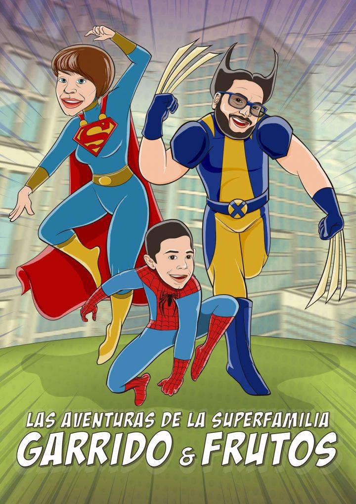 Ilustración retrato vectorial LA SUPERFAMILIA GARRIDO y FRUTOS