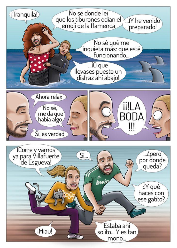 Ilustración y diseño gráfico de cómic para invitación de boda JESSI y JOSE 3