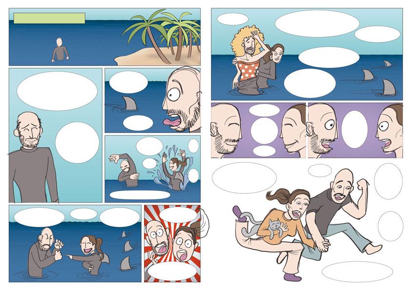 Proceso ilustración de cómic para invitación de boda JESSI y JOSE 3