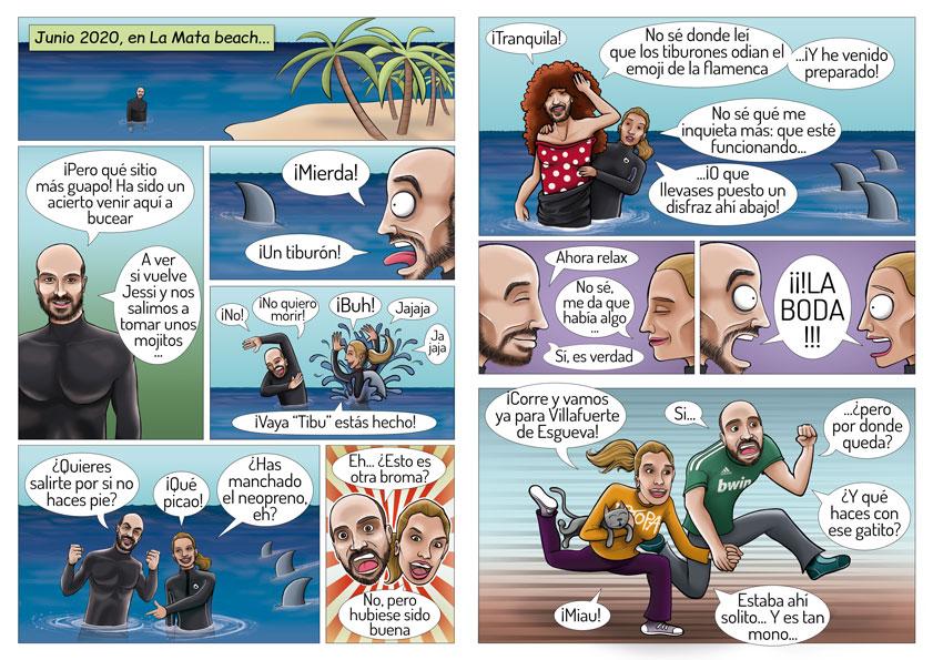 Proceso ilustración de cómic para invitación de boda JESSI y JOSE 4