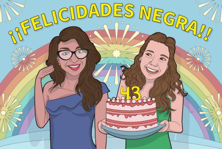Ilustracion vectorial rerato CUMPLEAÑOS NEGRA