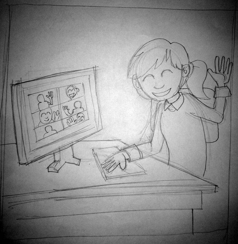 Boceto ilustración blog SALUD MENTAL Y TELETRABAJO