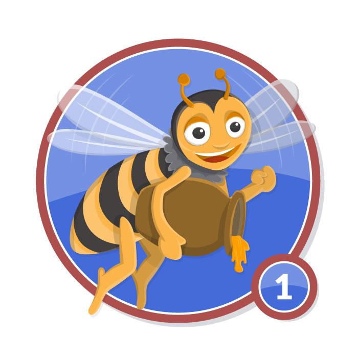 Ilustración animal en insignia ABEJA nivel 1