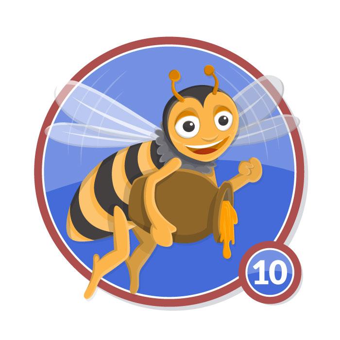 Ilustración animal en insignia ABEJA nivel 10