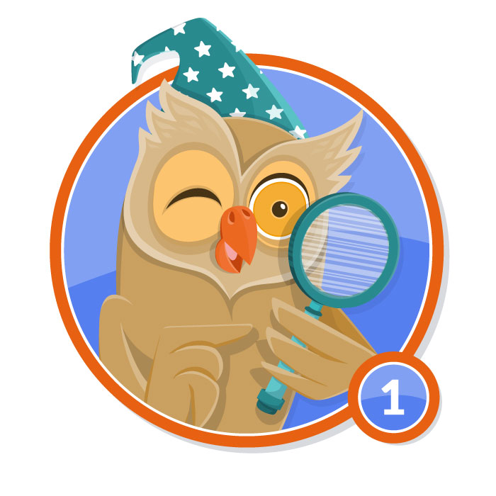 Ilustración animal en insignia BUHO nivel 1