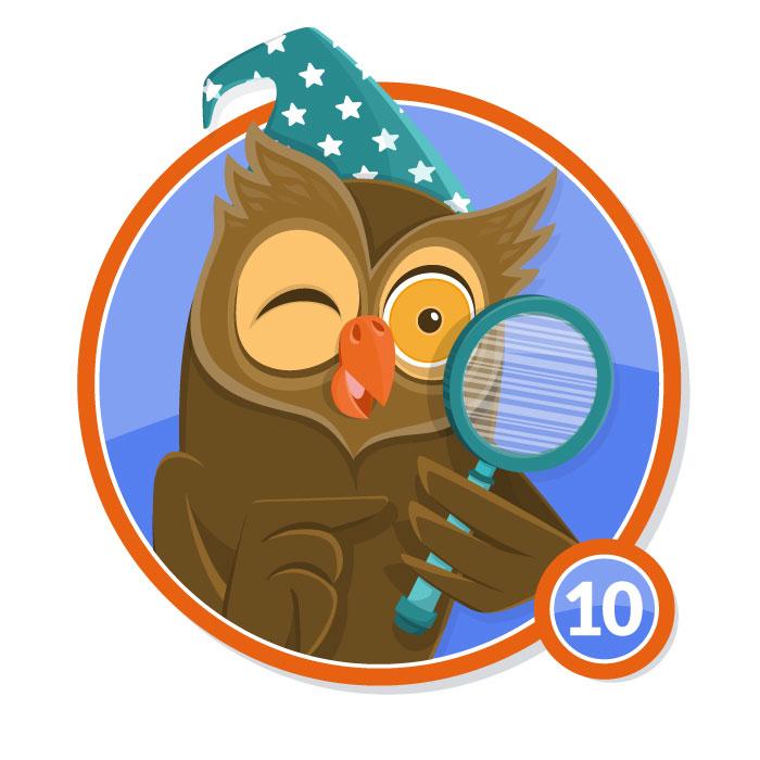Ilustración animal en insignia BUHO nivel 10