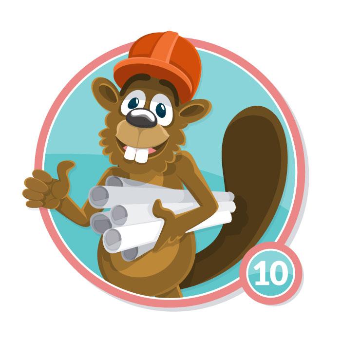 Ilustración animal en insignia CASTOR nivel 10