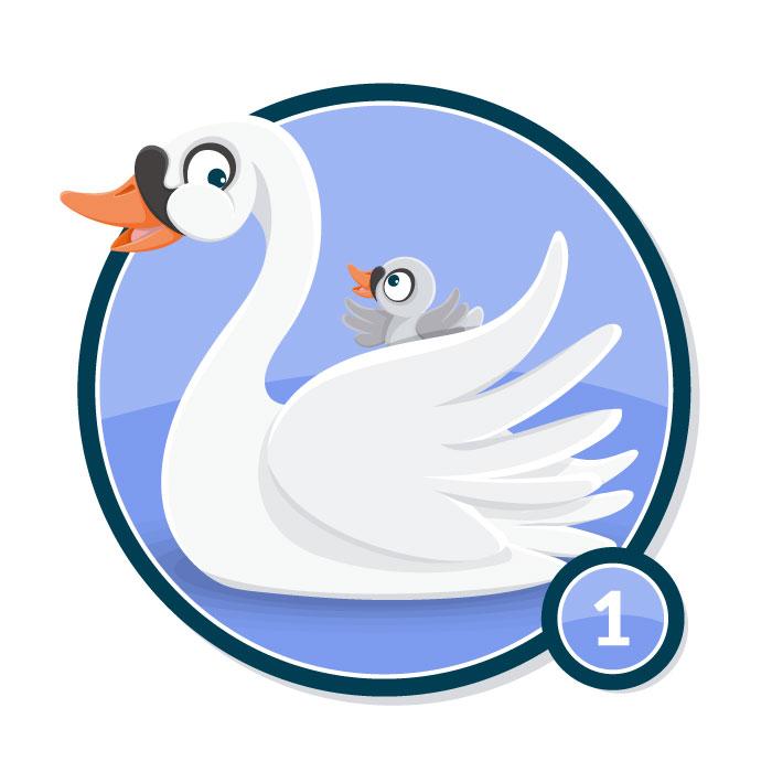 Ilustración animal en insignia CISNE nivel 1