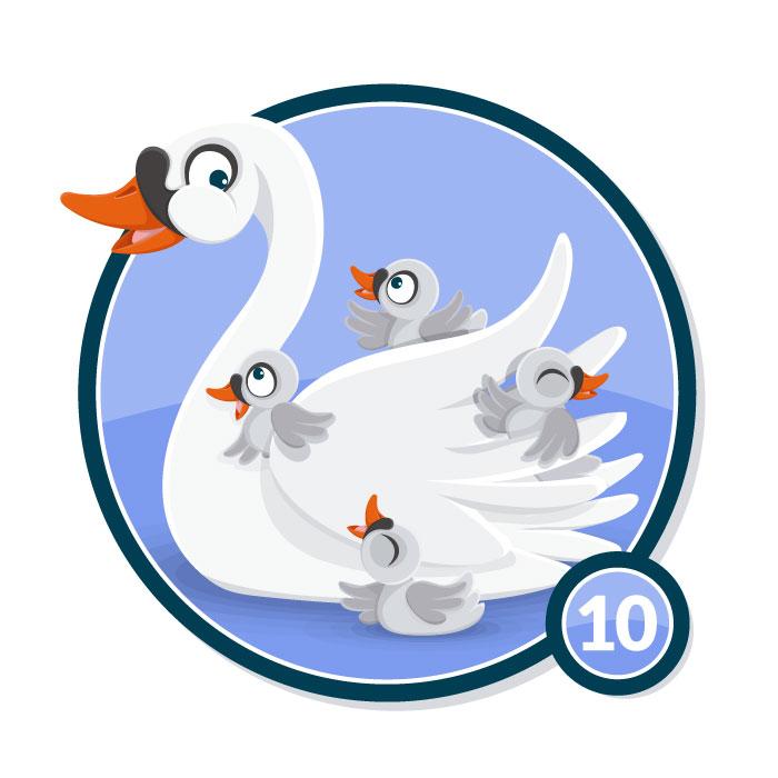 Ilustración animal en insignia CISNE nivel 10