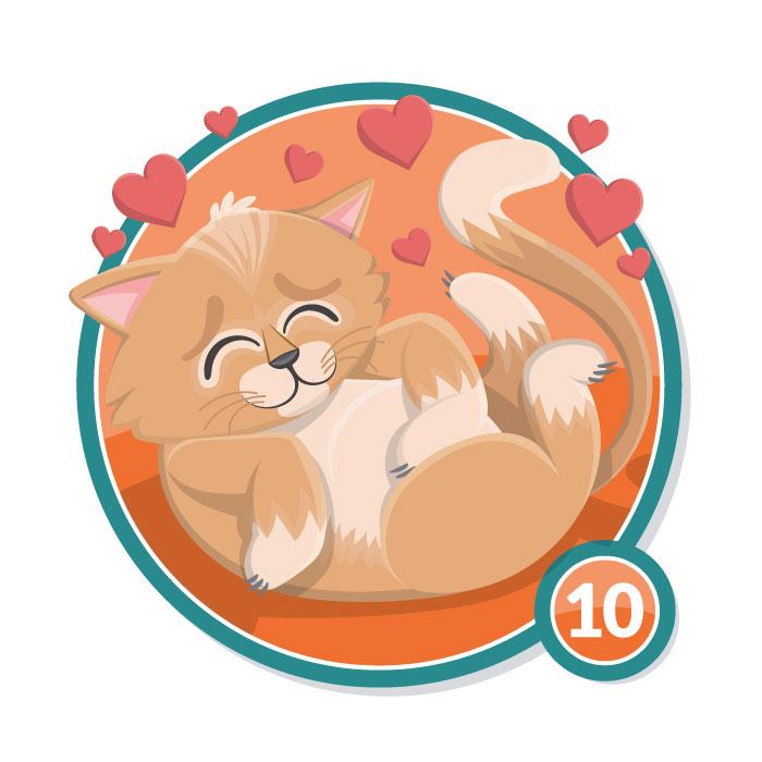 Ilustración animal en insignia GATITO nivel 10