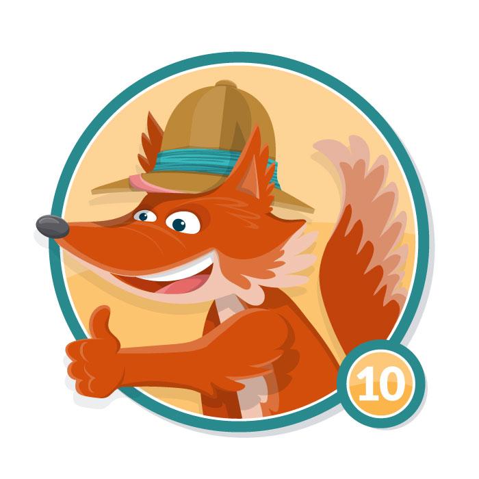 Ilustración animal en insignia ZORRO nivel 10