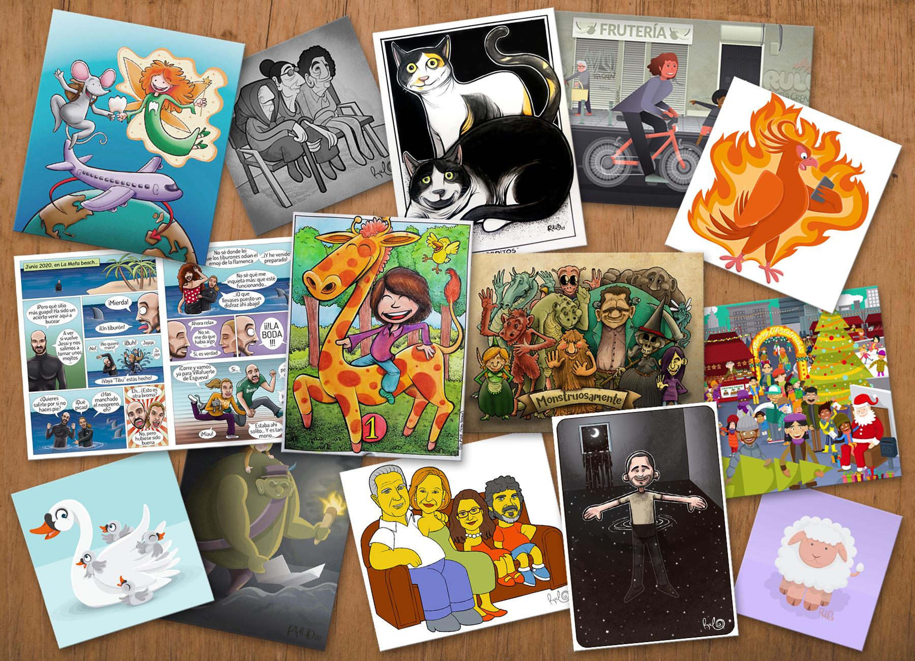 Montaje Rulo Mis trabajos de ilustración LA RULOTECA Ilustrador freelance